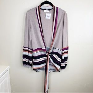 Entro Boutique puff sleeve tie front knit cardigan